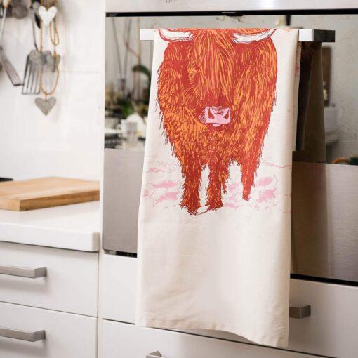 Highland Cow Tea Towel by Cherith Harrison