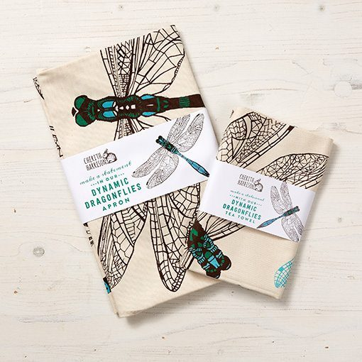 Dragonfly Apron and tea towel by Cherith Harrison