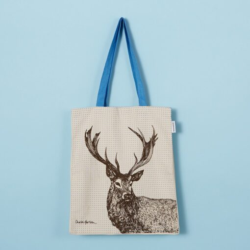 Canvas shopper tote bag with animal stag design by Cherith Harrison