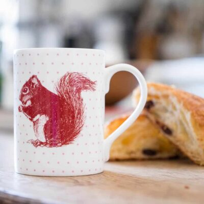 Red squirrel mug by Cherith Harrison
