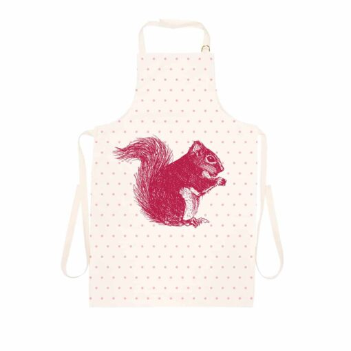 Animal apron with red squirrel and polka dot design by Cherith Harrison