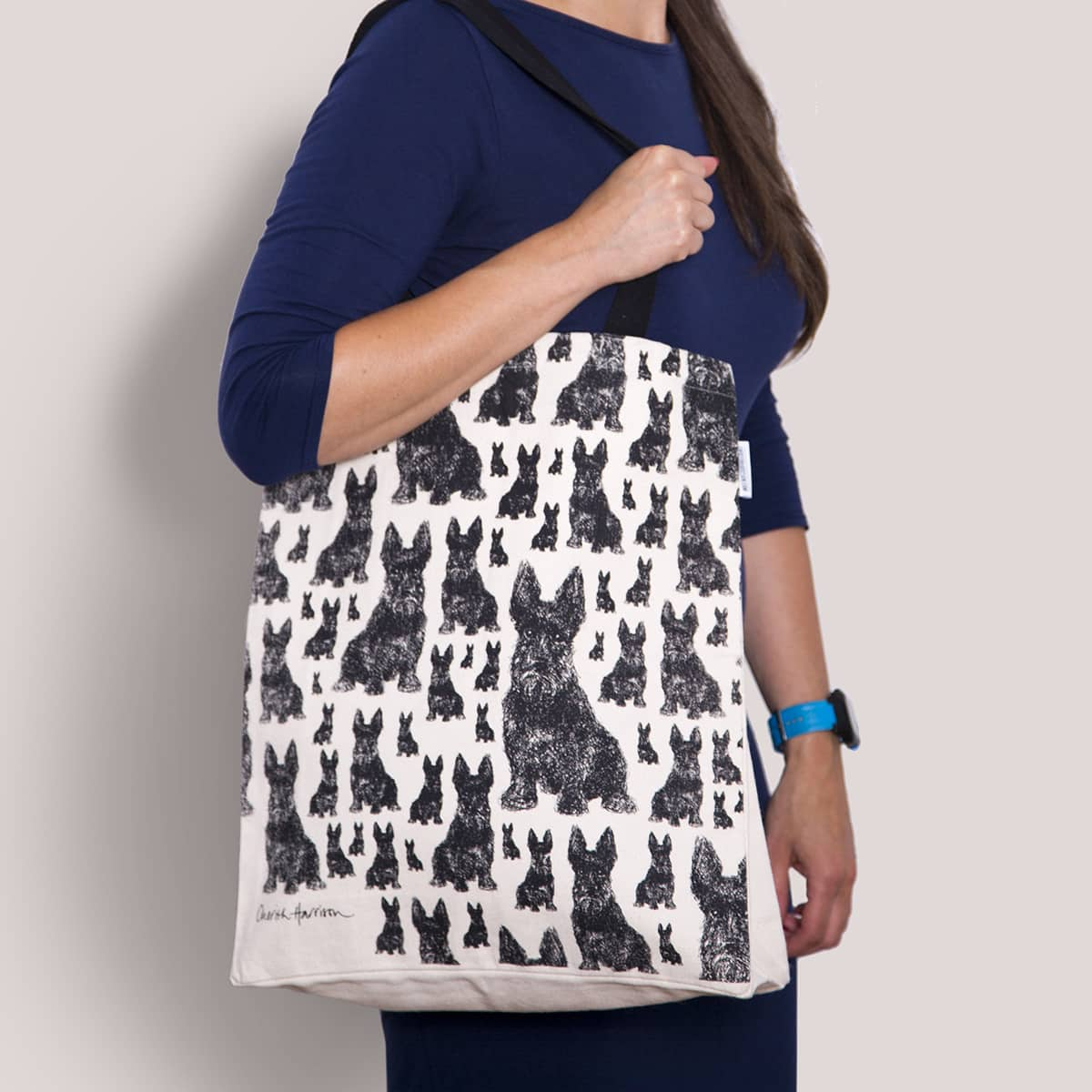 Gift for dog lover. Scottie dog cotton print fabric eco tote bag