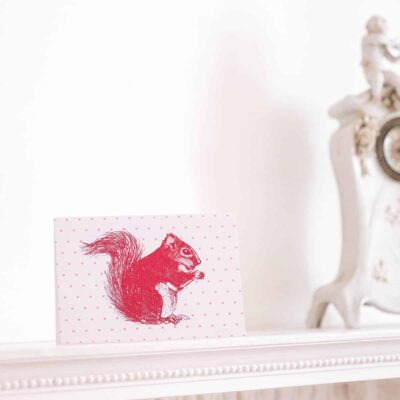 Cheery Red Squirrel Card by Cherith Harrison.