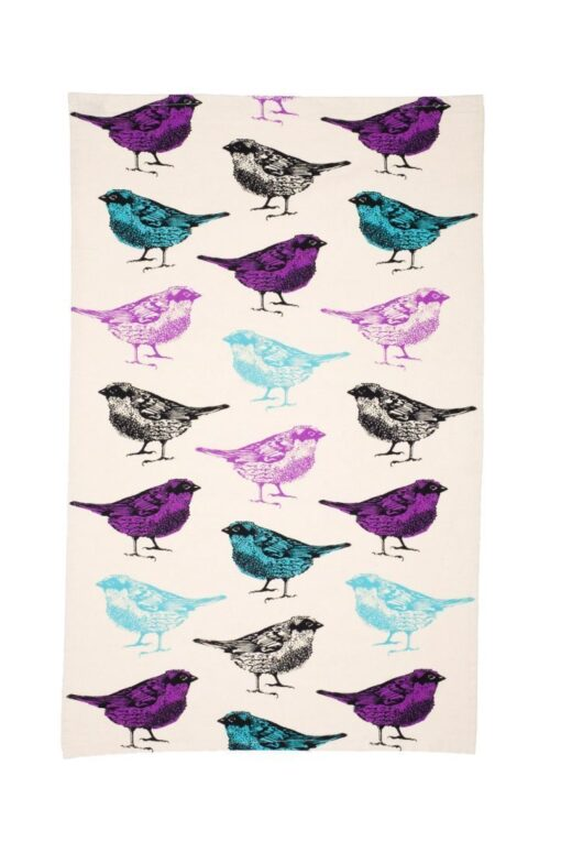 Chirpy Sparrow Bird Tea Towel by Cherith Harrison