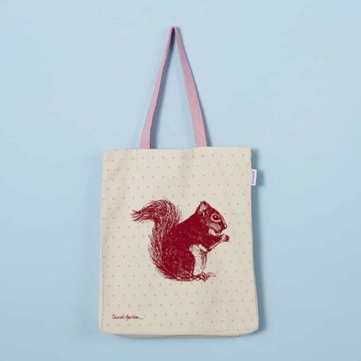 Cheery red squirrel tote bag by Cherith Harrison