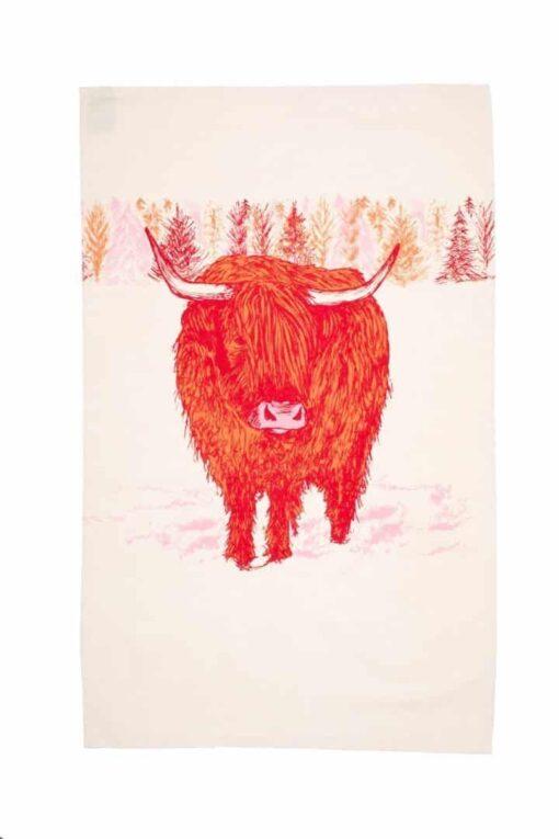 Trusty Highland Cow Tea Towel by Cherith Harrison