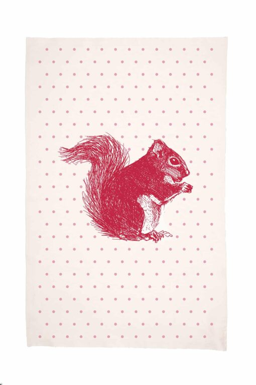 Cheery Red Squirrel Tea Towel by Cherith Harrison.