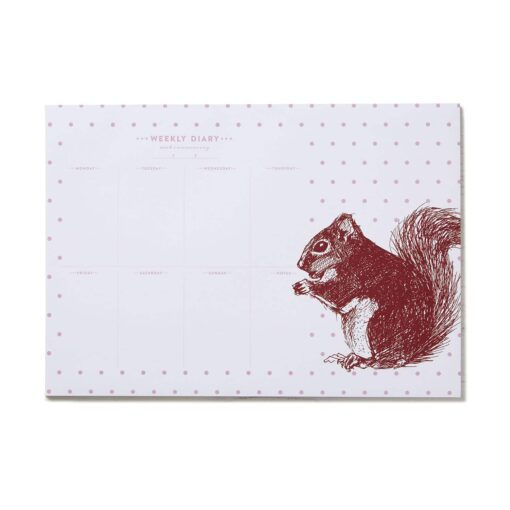 Cheery Red Squirrel Weekly Planner by Cherith Harrison.