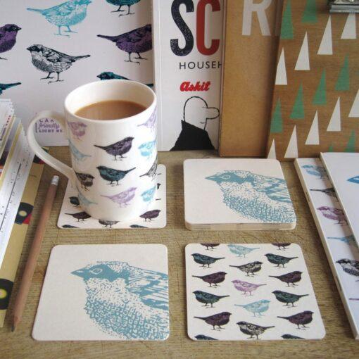 Chirpy Sparrow Bird Coasters
