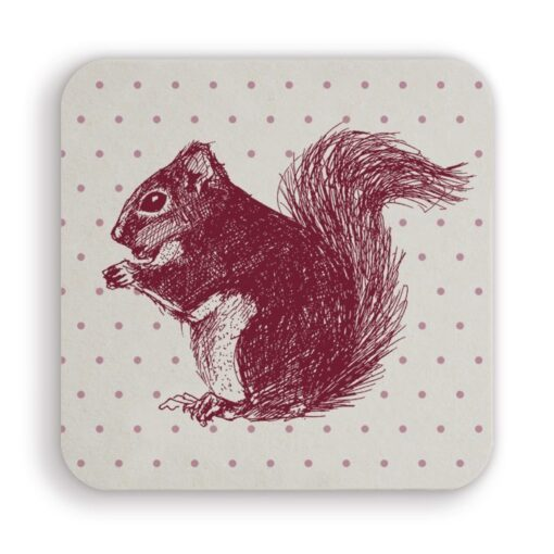 Cheery Red Squirrel Coaster By Cherith Harrison