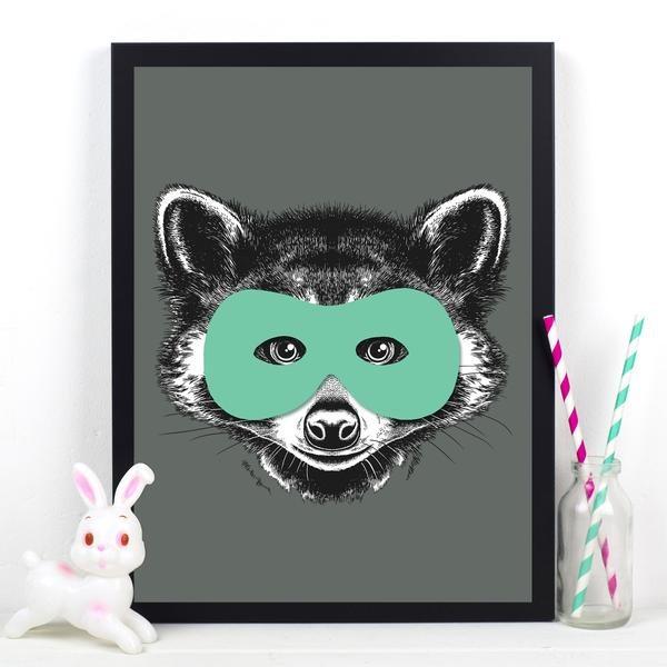 Superhero Raccoon Childrens Poster