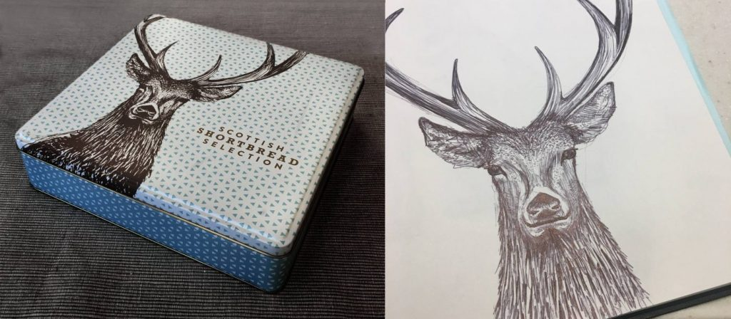 Stag Shortbread Tin by Cherith Harrison for Sainsbury's