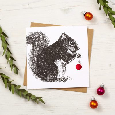 Cheery Red Squirrel Christmas Card by Cherith Harrison