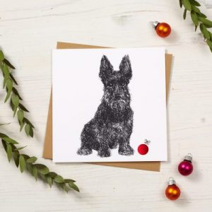 Scottie Dog Christmas Card by Cherith Harrison