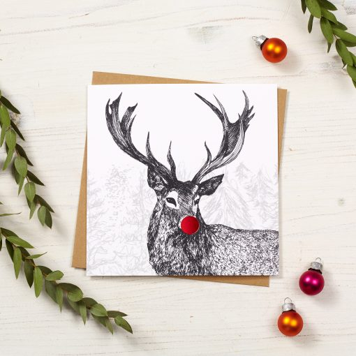 Stag Christmas Card by Cherith Harrison