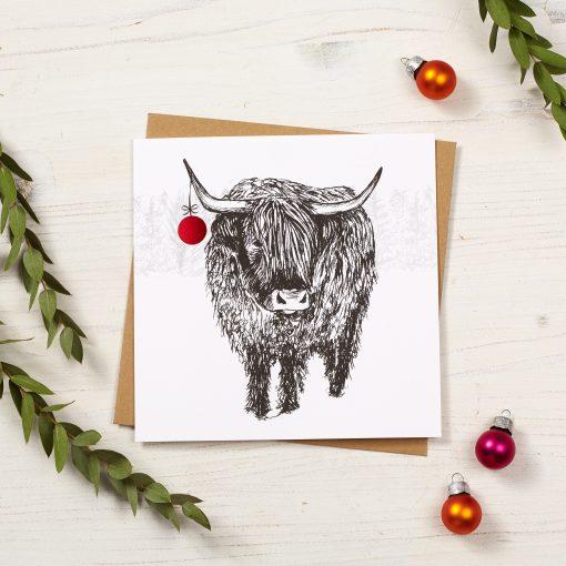 Trusty Highland Cow Christmas Card by Cherith Harrison