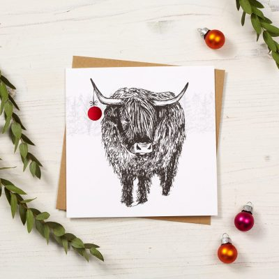 Trusty Highland Cow Christmas Card by Cherith Harrison