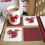 Cheery Red Squirrel Coasters