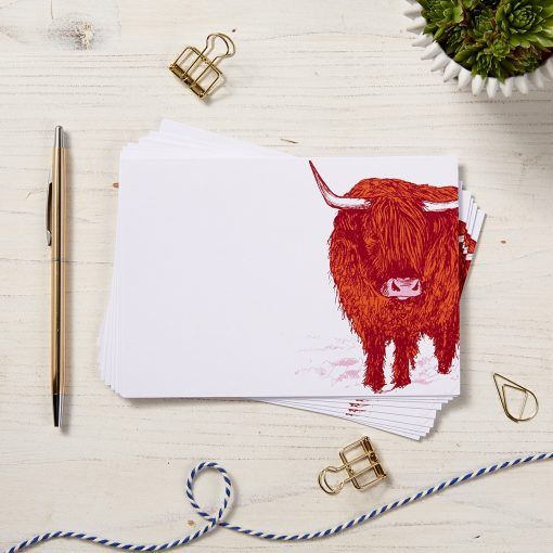 Trusty Highland Cow Note Cards by Cherith Harrison