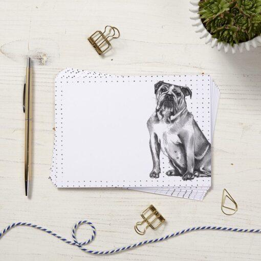 British bulldog Note Cards by Cherith Harriso