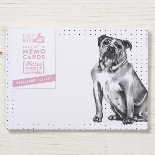 British bulldog Note Cards by Cherith Harriso