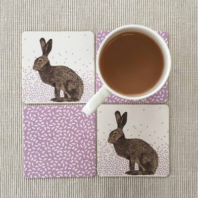 Hare Coasters and Mug by Cherith Harrison