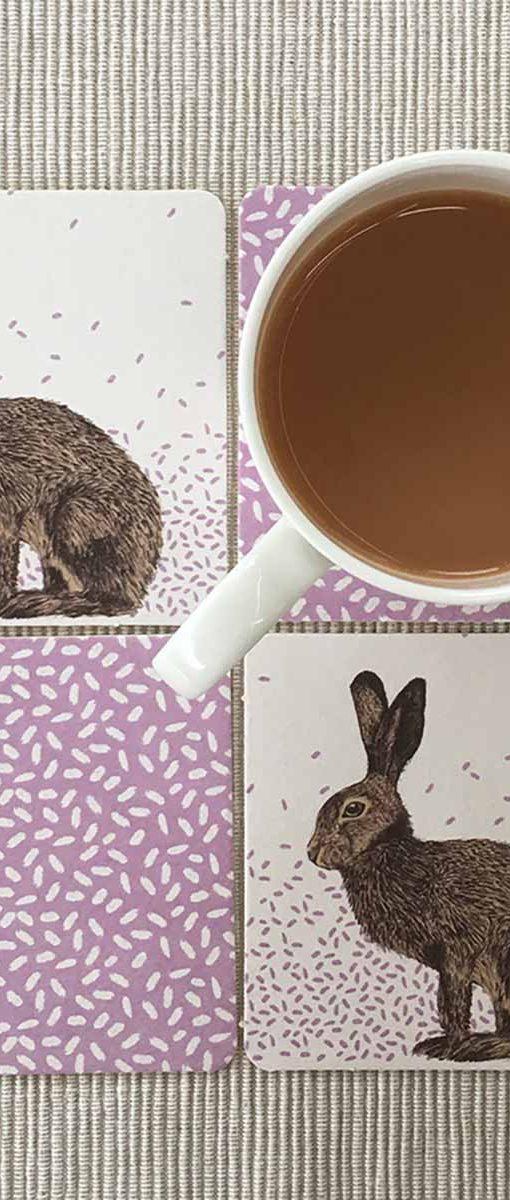 Hare Coasters and Mug by Cherith Harrison