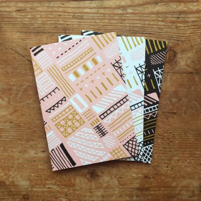 Pack of 3 aztec patterned notepads by Cherith Harrison