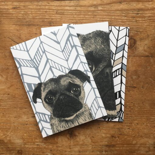 Pug notepads by Cherith Harrison