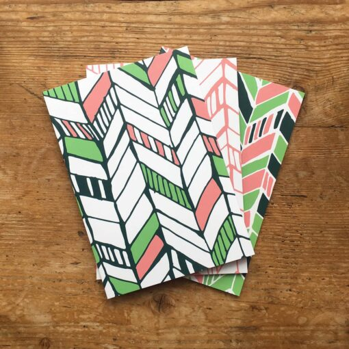 Pack of 3 zig zag patterned notepads by Cherith Harrison