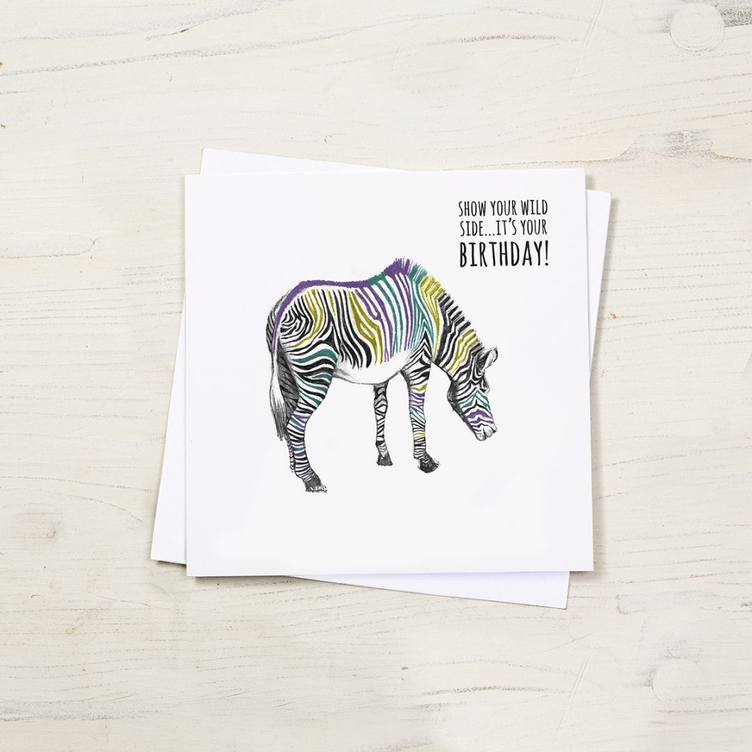 Zebra birthday card by Cherith Harrison