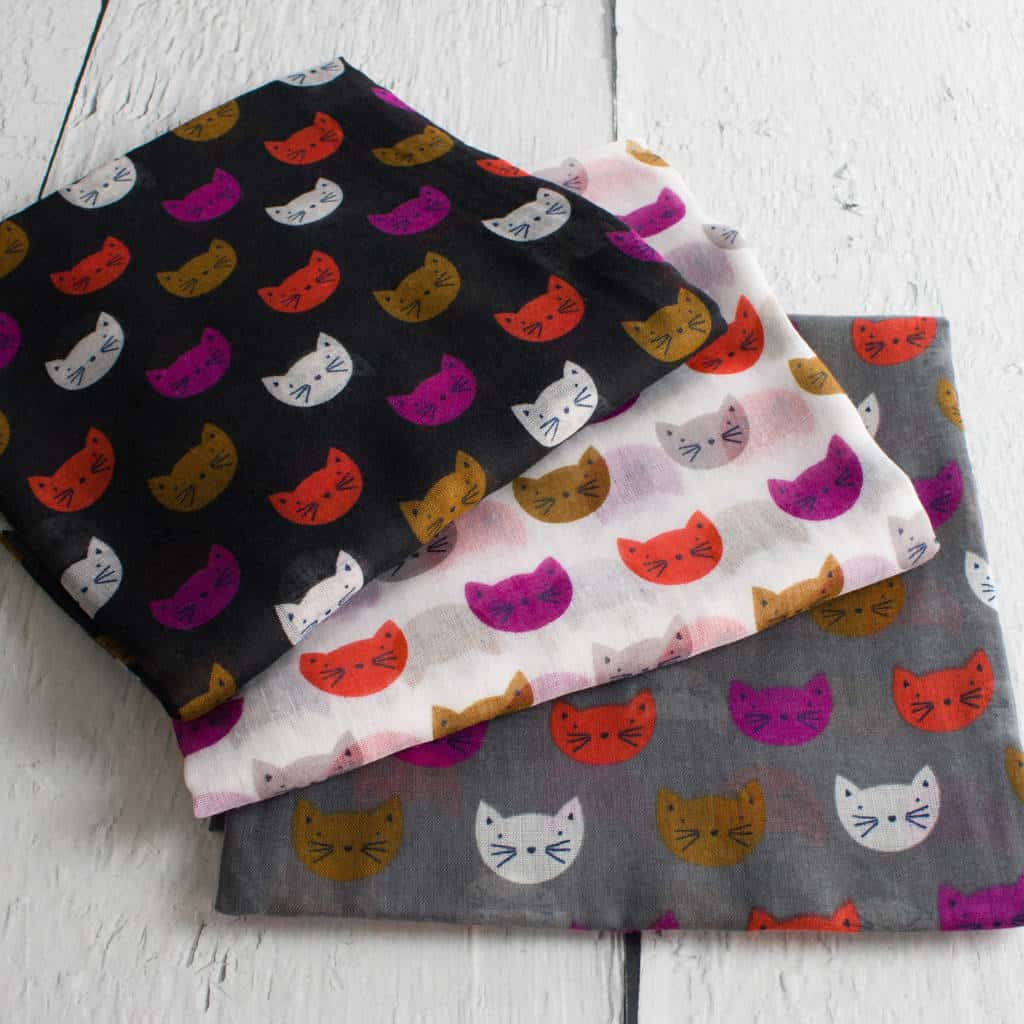 Colourful Cat Print Scarf by HAYLEY & CO