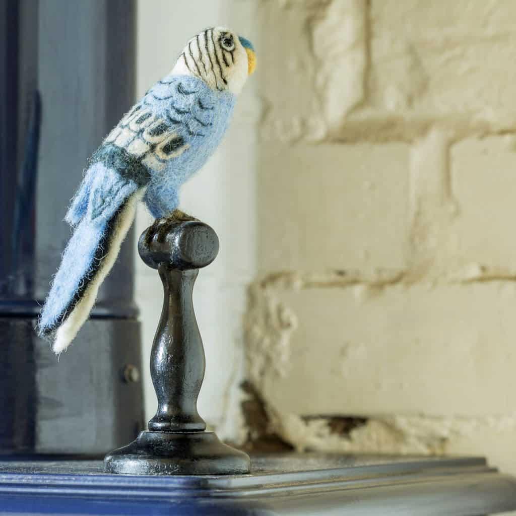 Felt Bird Taxidermy Blue English Budgie by SEW HEART FELT