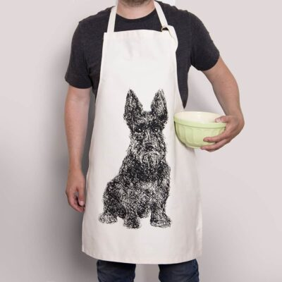Cotton apron with Scottish Terrier design by Cherith Harrison