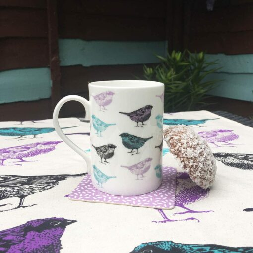 Chirpy Sparrow bird mug by Cherith Harrison