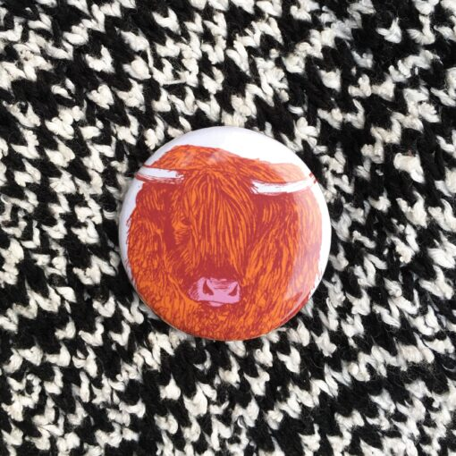 Highland Cow Pin Badge by Cherith Harrison