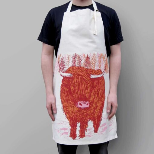 Highland Cow apron by Cherith Harrison