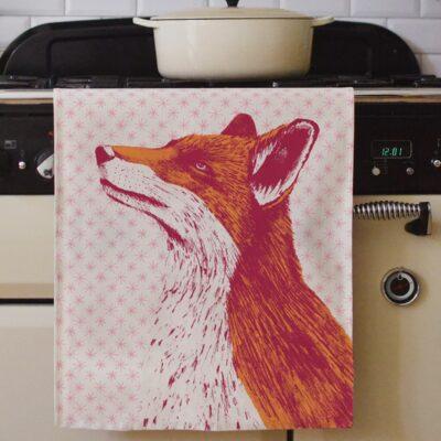Fancy Fox Tea Towel by Cherith Harrison.