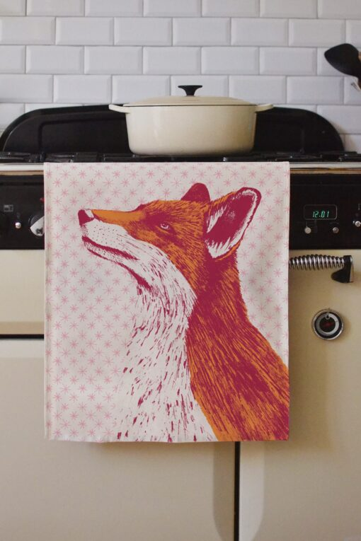 Fancy Fox Tea Towel by Cherith Harrison.