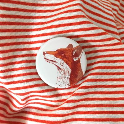 Fox Pin Badge by Cherith Harrison