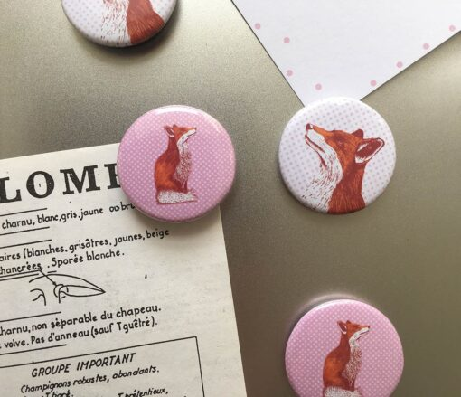 animal magnets with fox design by Cherith Harrison