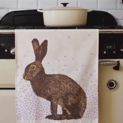 Humble Hare Tea Towel by Cherith Harrison