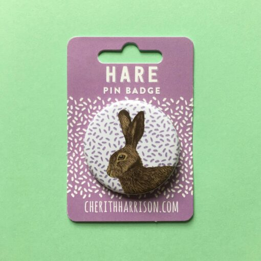 Hare Pin Badge by Cherith Harrison