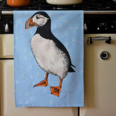 Puffin Dish Towel by Cherith Harrison