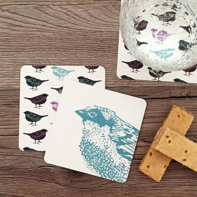 Coasters in bird pattern design by Cherith Harrison