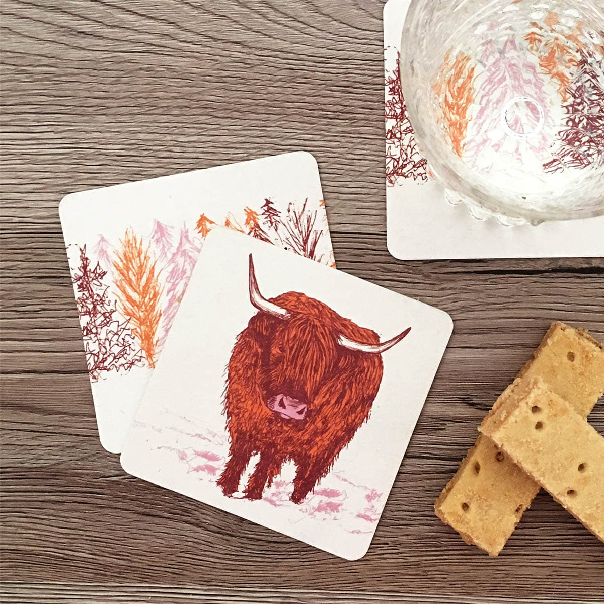 Scottish coasters in highland cow design by Cherith Harrison