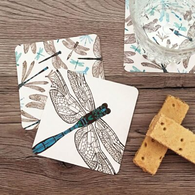 Coasters in dragonfly design by Cherith Harrison