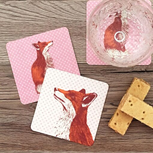 Coasters in fox and star design by Cherith Harrison