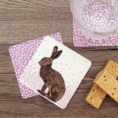 Coasters in hare design by Cherith Harrison