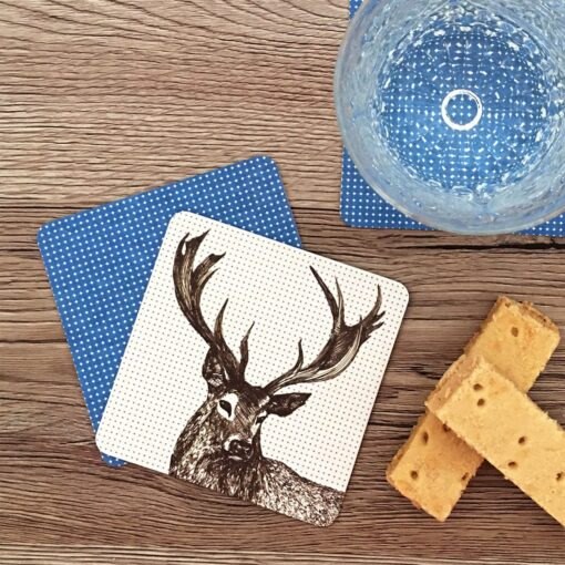 Scottish coasters in stag design by Cherith Harrison